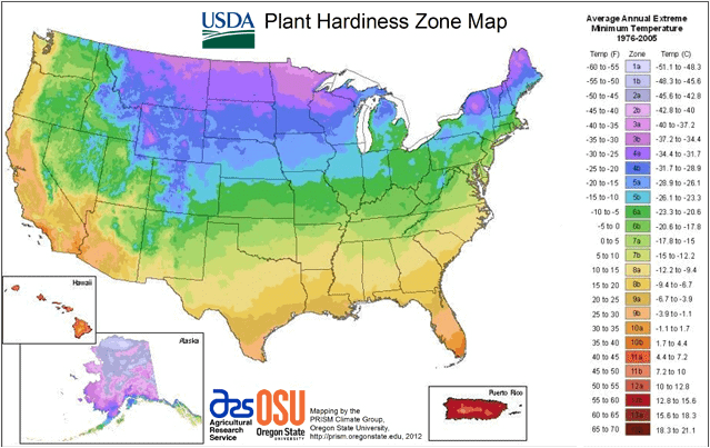 Hardiness Zone Map for Gorwing Plants Outside